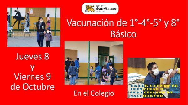 Cambio de Horarios de Vacunación a alumnos(as) de 1°,4°,5° y 8° Básico