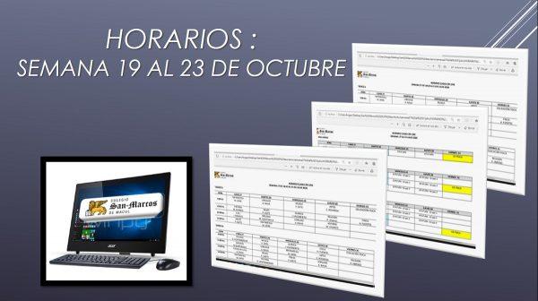 Horarios semana 19 al 23 de Octubre