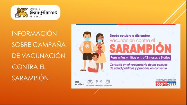 Información sobre Campaña de vacunación contra el Sarampión