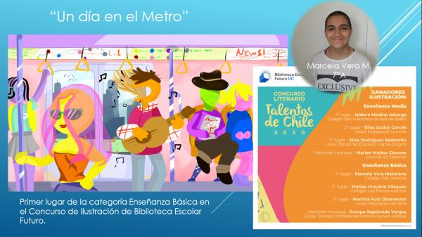 Marcela Vera Maturana 7°A, ganó el 1er lugar en Concurso de Ilustración de Biblioteca Escolar Futuro