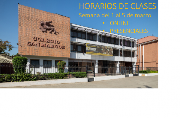 Horarios de clases: Semana del 1 al 5 de marzo